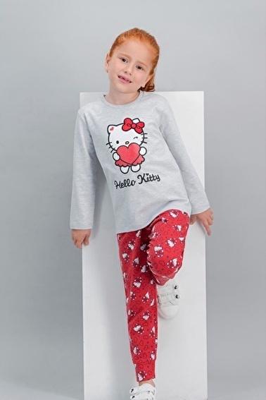 Hello Kitty Hello Kitty Lisanslı Koyu Grimelanj Kız Çocuk Pijama Takımı Gri
